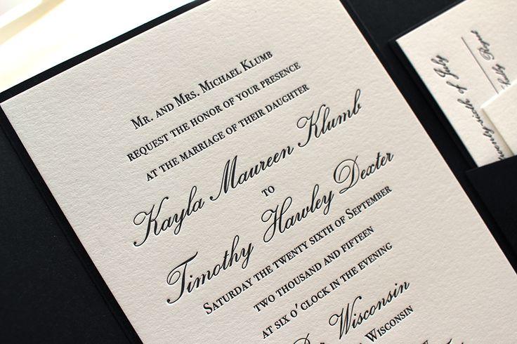 The Orchid Suite - Classic Letterpress Wedding Invitation Suite, Black, White, pocket enclosure, Formal, Simple, Traditional, Vintage, Ivory