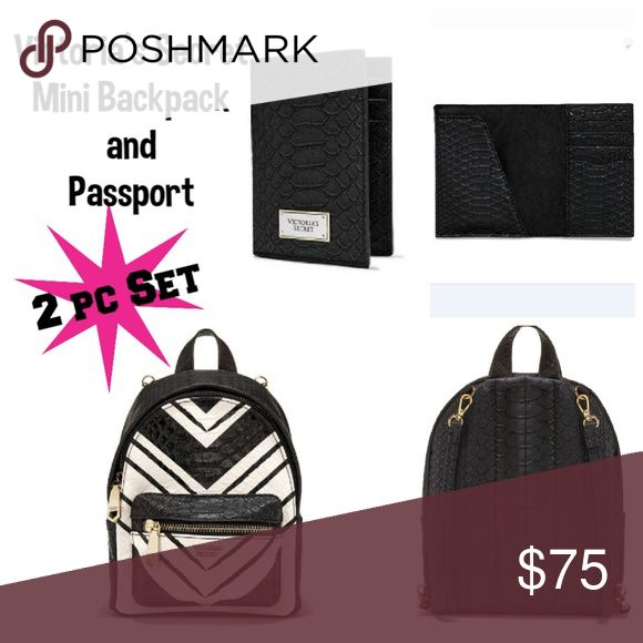 VS Mini Backpack Python + Card ID Passport Holder⚡ NEW 2 Piece Set  Victorias Secret Beautiful Black & White Chevron Python  Wicked City Mini Backpack in Original Packaging + Black Python Passport  SAME DAY SHIPPING & HANDLING Victoria's Secret Bags Mini Bags