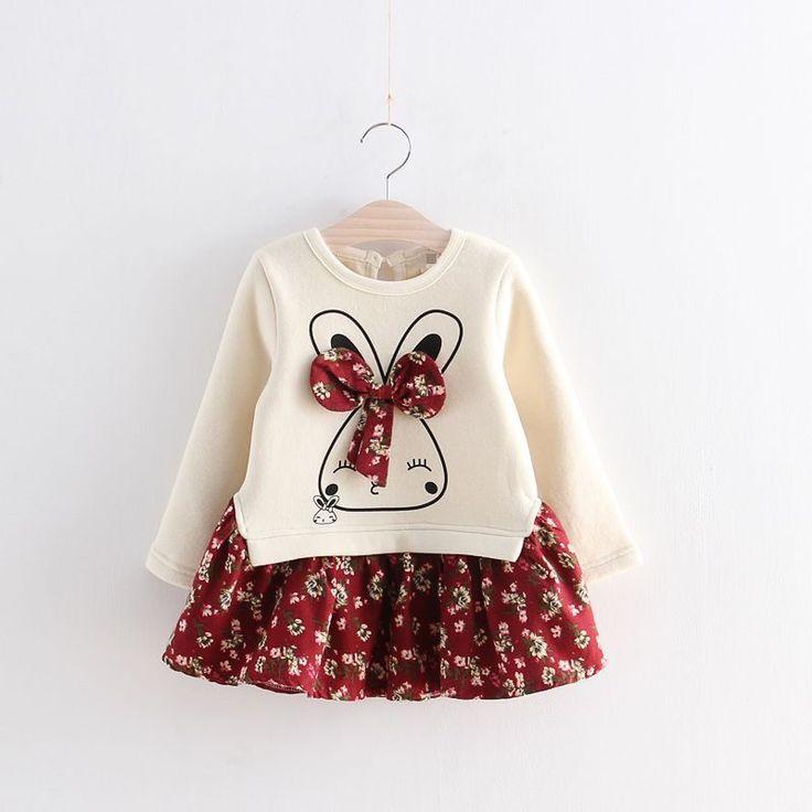 2016 мода осень зима 1 шт. мультфильм кролик девушок цветка платье с бантом детская одежда принцесса платья детская одежда купить на AliExpress