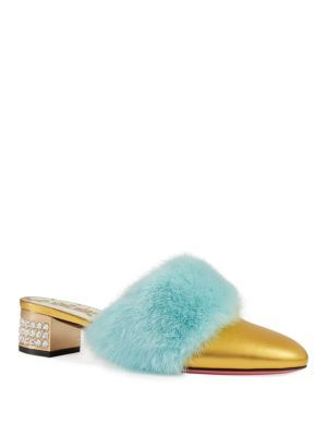 f7bf3158a GUCCI Metallic Candy Mink Trim Mules. #gucci #shoes # | Gucci ...