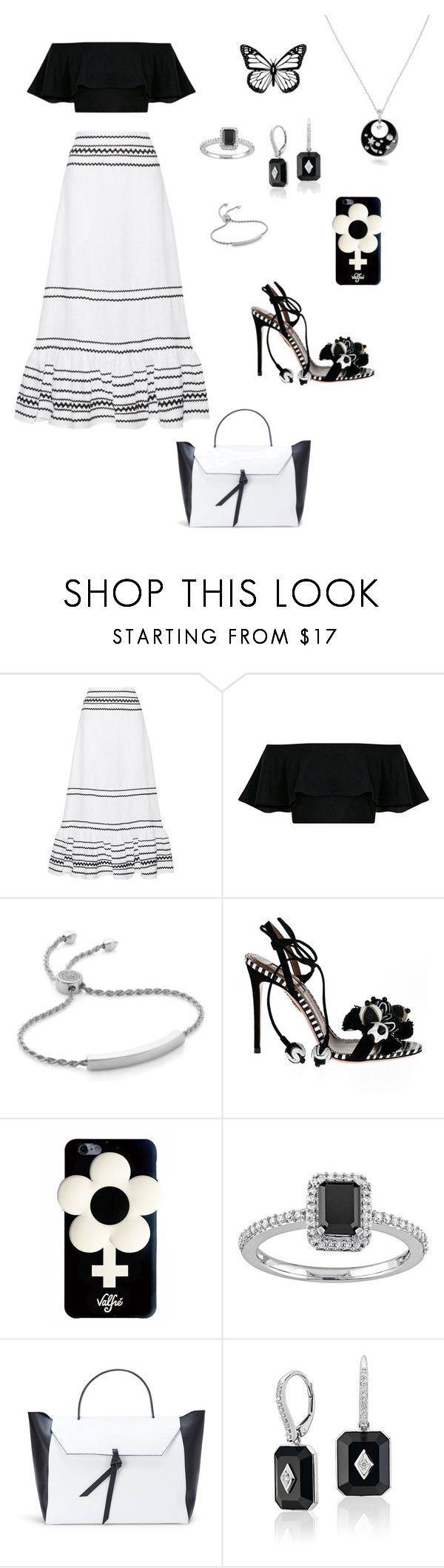 """""""Black and white party 🎊"""" by mrsagosto ❤ liked on Polyvore featuring Lisa Marie Fernandez, Monica Vinader, Aquazzura, Valfré and Alexandra de Curtis"""