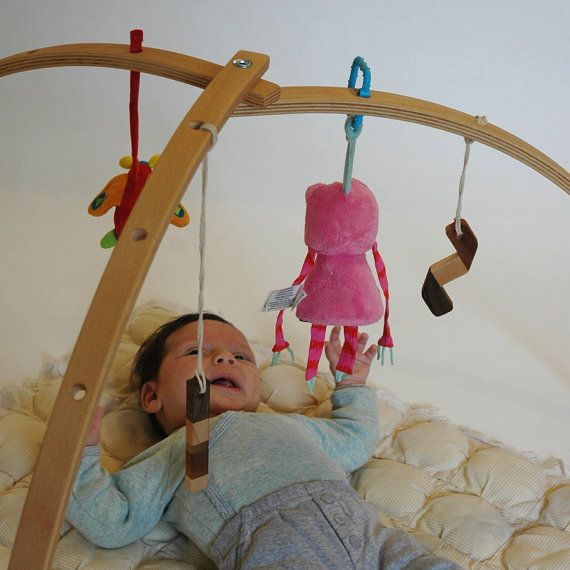 Wooden baby gym for hanging baby mobiles by Studiomishela on Etsy