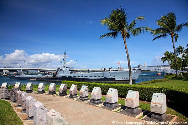 Submarine USS Bowfin at the USS Arizona Memorial, Pearl Harbor, Honolulu, Hawaii.