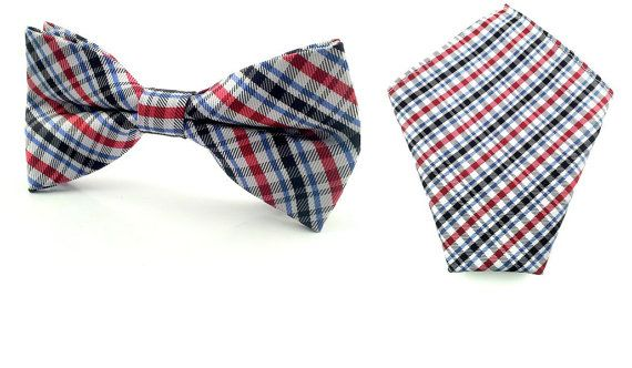 Tri Coloured Bow Tie and Pocket Square. Bowtie Pocket Square.