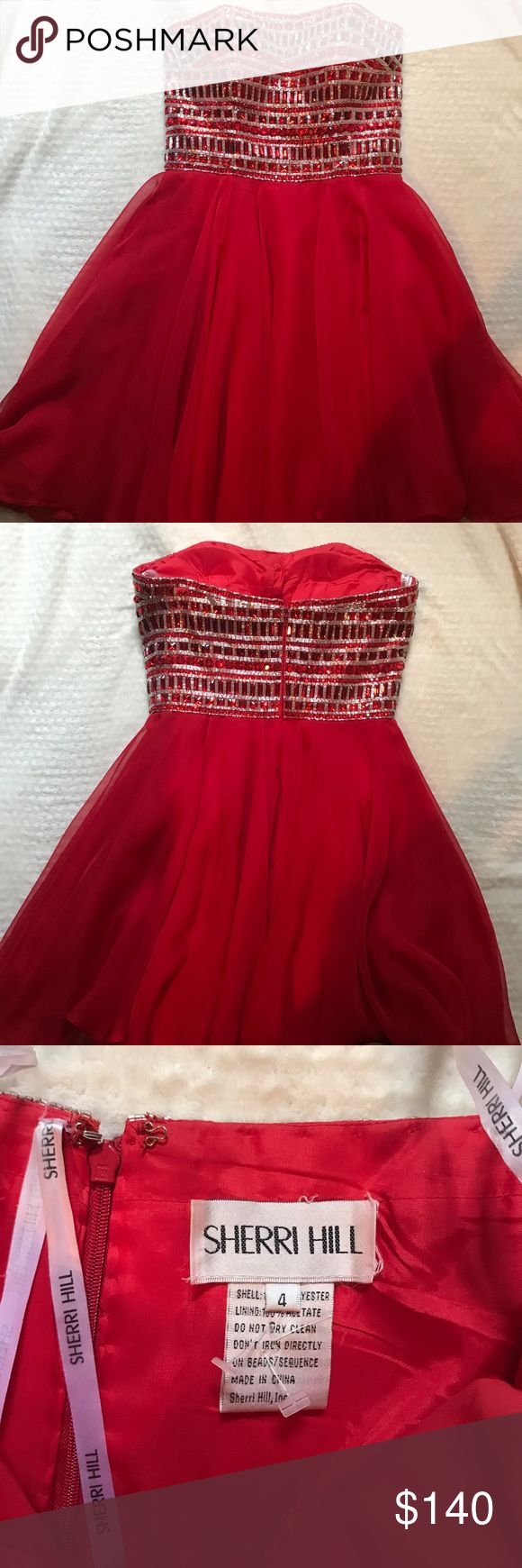 Sherri hill red dress Red with silver and red sequence top. Offers highly accepted Sherri Hill Dresses Strapless