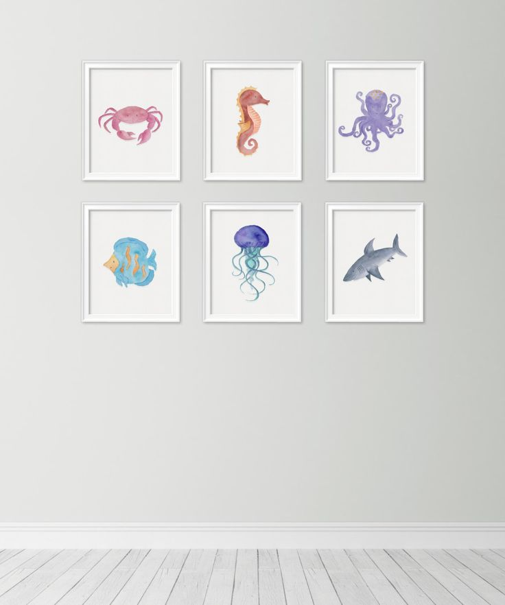 Set of 6 sea watercolor collection - Sea themed nursery - Ocean prints - Ocean creatures - Ocean themed nursery - Nursery decor - kids room by kiwiNberries on Etsy https://www.etsy.com/listing/451983414/set-of-6-sea-watercolor-collection-sea