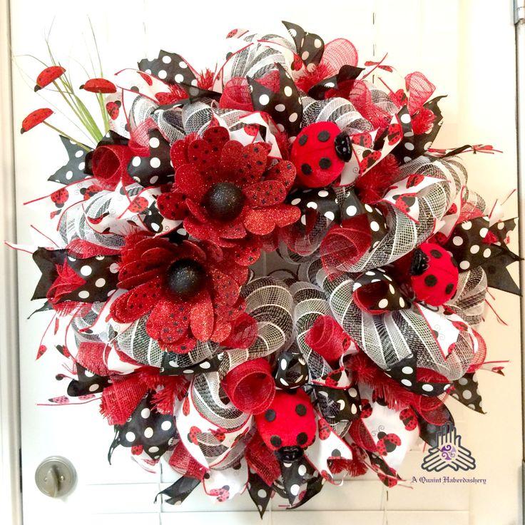 Lady Bug Deco Mesh Wreath by AQuaintHaberdashery on Etsy