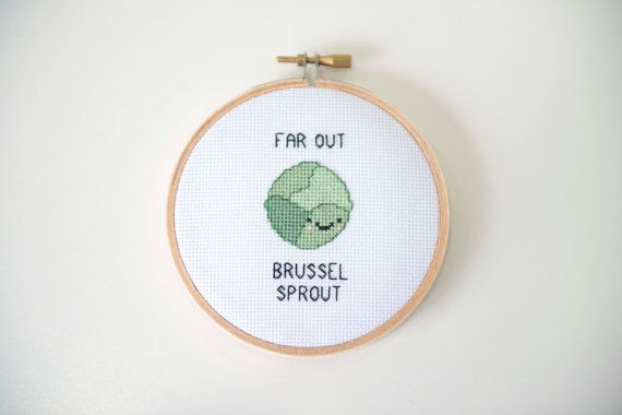 Far Out Brussel Sprout Cross Stitch Kawaii Cross by Quirkorium