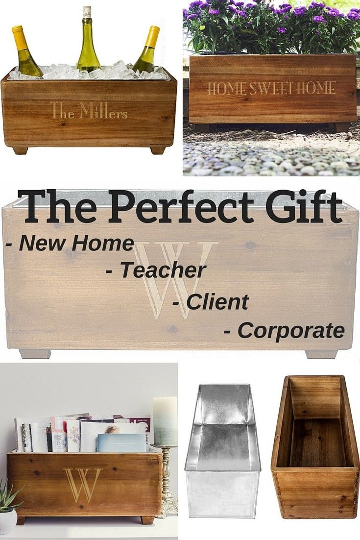 The perfect gift for new home owners, teachers, business clients, or corporate gift baskets, this rustic wood trough personalized with a single line of print for name, initial or thank you message features a galvanized metal insert so this versatile gift can be used as a wine chiller, planter box, DIY gift basket, or book and mail holder. This wood trough can be ordered at http://myweddingreceptionideas.com/custom-printed-rustic-wood-trough-wine-chiller.asp