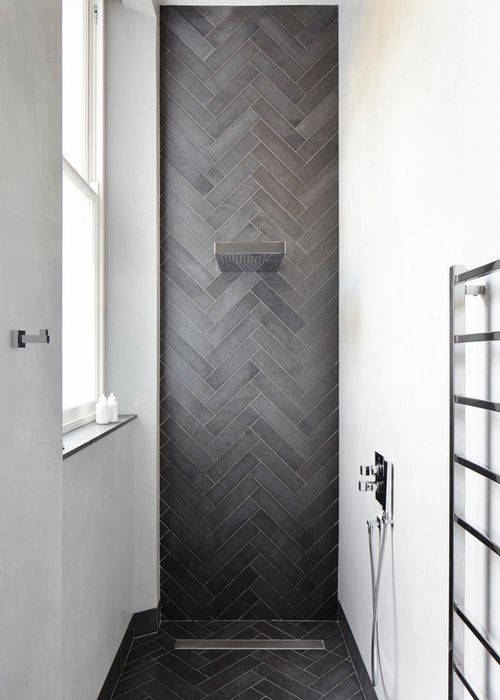Really interesting tiles in a narrow en suite