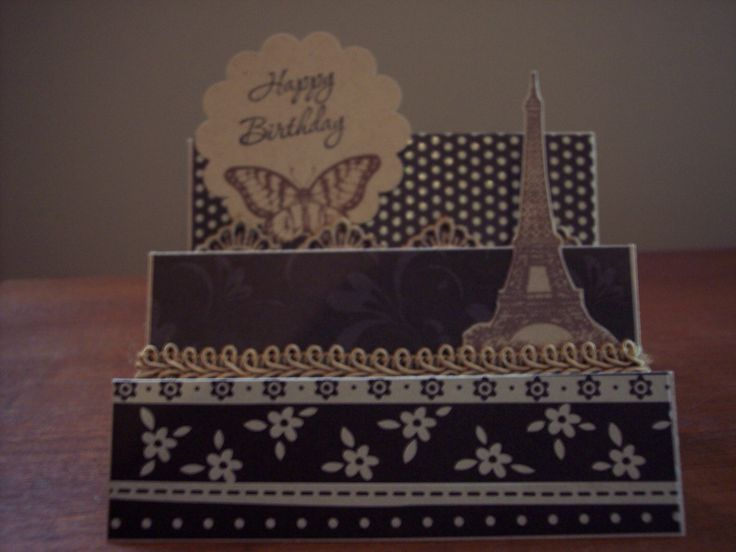Trifold pop-up card inspired by French chic