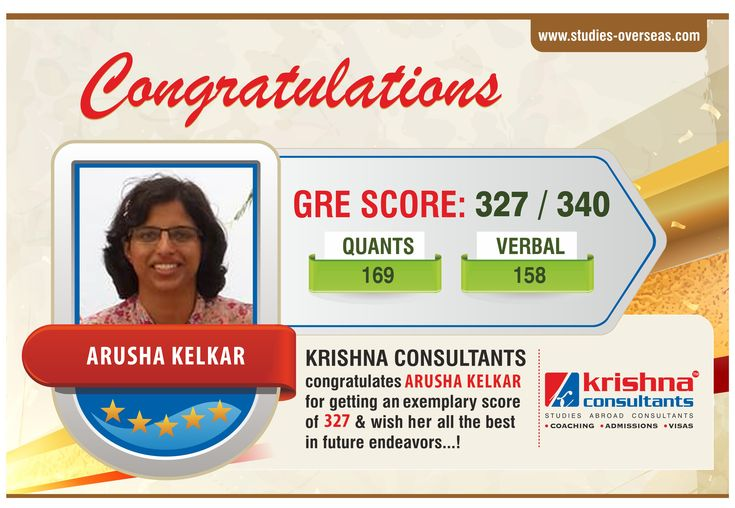Congratulations Arusha Kelkar for getting an exemplary score of 327 in #GRE.  We wish her a bright future ahead!!