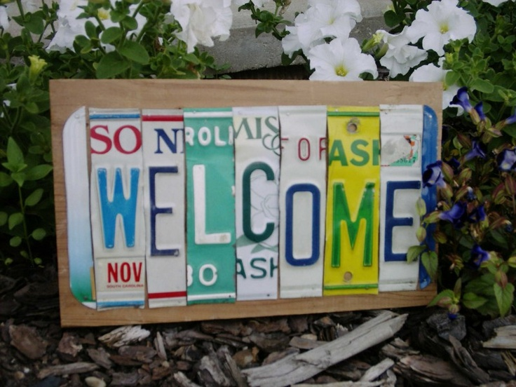 awesome idea for signage repurposed license plates