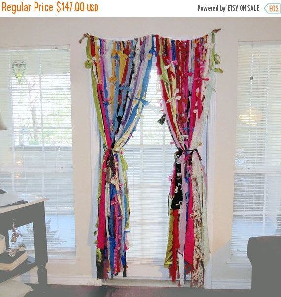 Sale, Window Curtains, Boho Curtains, Rag Curtains, Gypsy Backdrop, Home and Living, Curtains & Window Treatments