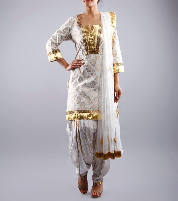 White Cotton Patiala Salwar Kameez With Gota Work