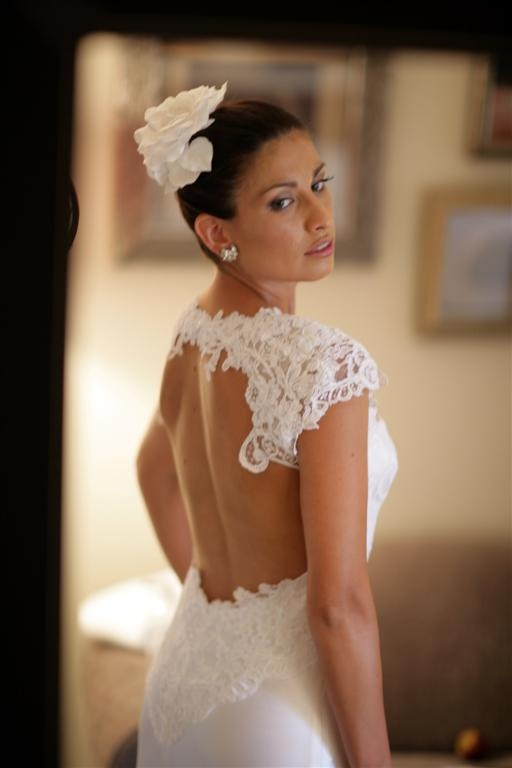 Adam Dixon breathtaking bespoke dress featuring a corded lace bodice and cut out detailing on the back.