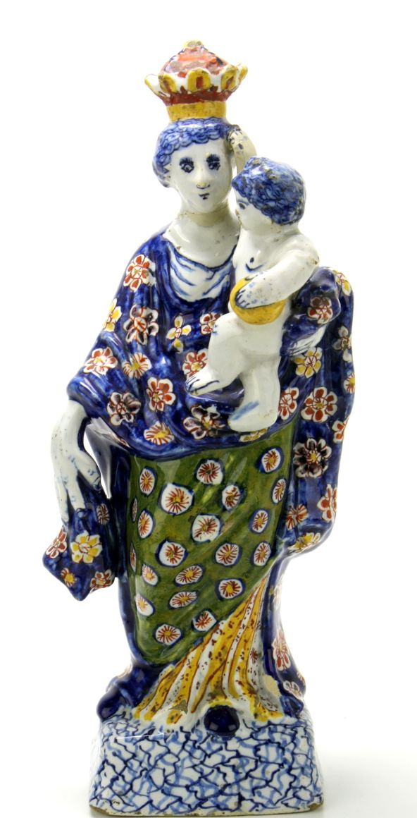 Delft polychrome earthenware form piece of Madonna with child. ca. 1750 Height: 28,5 cm Jeroen PM Hartgers