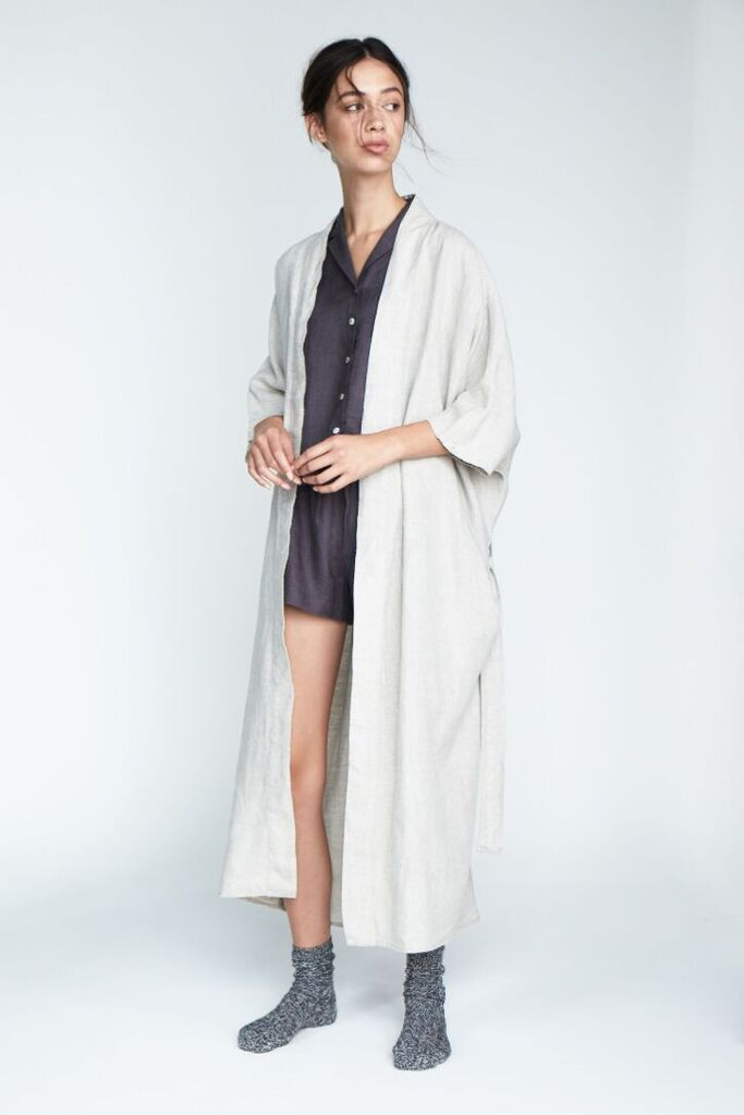The 'Evie' Shirt and Short set in Charcoal paired with the 'Evie' Kimono Robe in Silver - Andrea & Joen French Linen Loungewear Collection shot by Sylve Colless