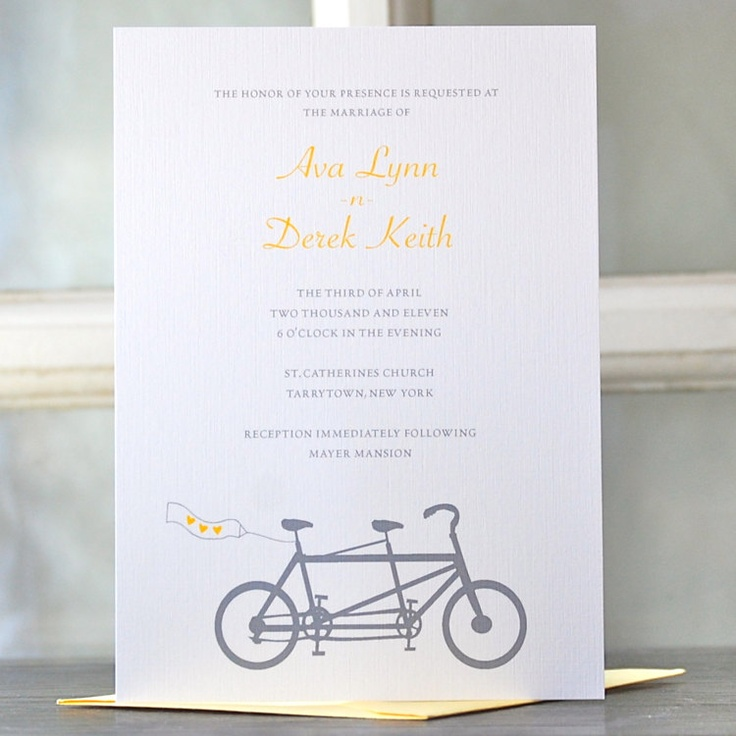 Wedding Invitations/ Bicycle Wedding Invitations / Bike Wedding Invitations / Tandem Bicycle Invitations - A Bike for Two. $5.00, via Etsy.