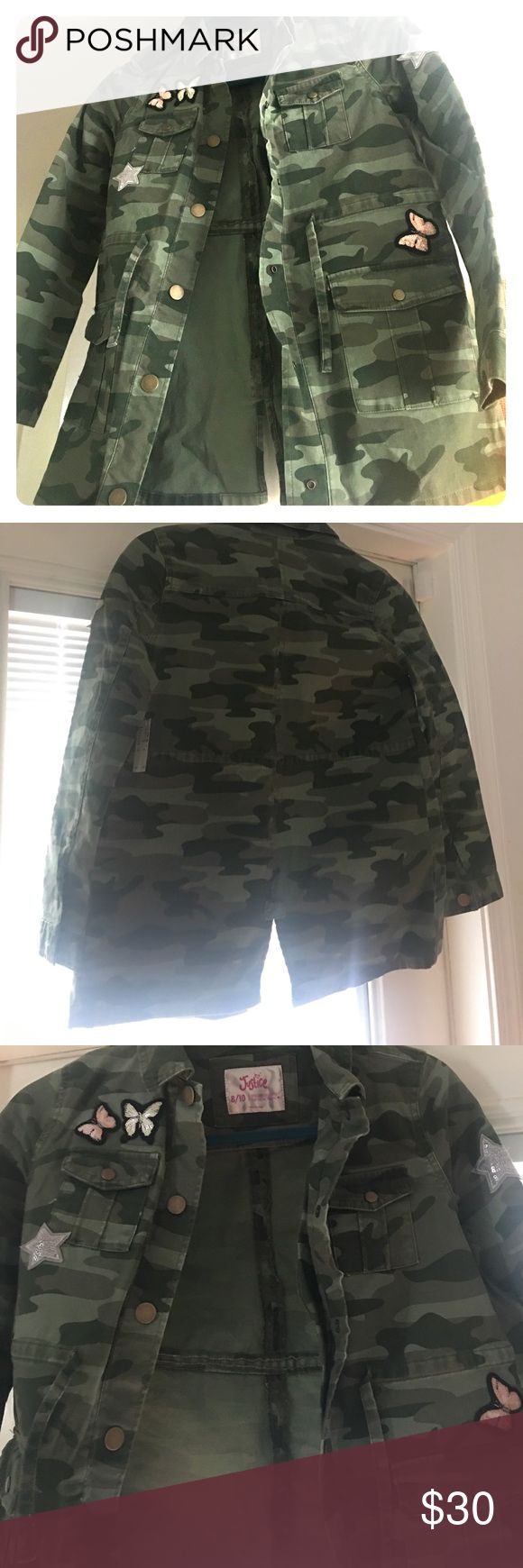 Justice army fatigue jacket Army fatigue jacket with patches.   Girls size 8/10. Snap button down, drawstring waist, cargo pockets . New with tags Justice Jackets & Coats