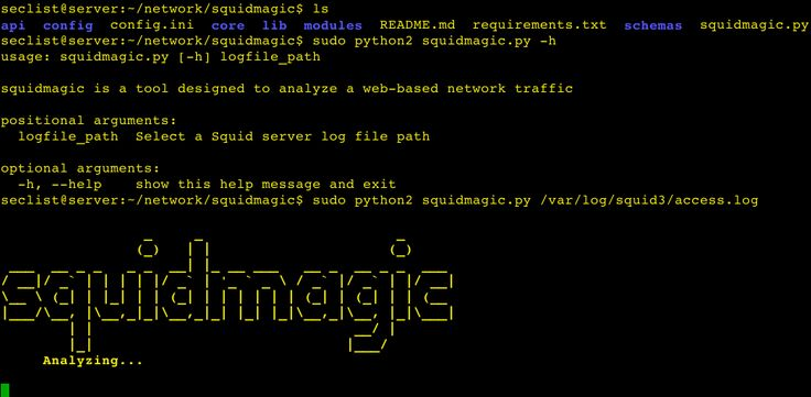 squidmagic is a tool designed to analyze a web-based network traffic to detect central command and control (C&C) servers and Malicious site, using Squid proxy server and Spamhaus. Installation  git clone https://github.com/ch3k1/squidmagic.git cd squidmagic ./install.sh   Usage  squidmagic #...