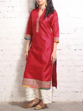 Red Gota Work Raw-Silk Tunic