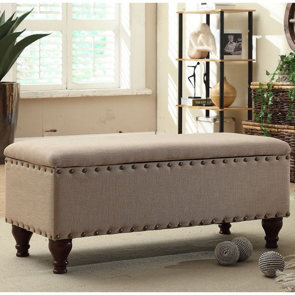 $116.99 Nailhead Upholstered Storage Bench - Overstock Shopping - Great Deals on HomePop Benches