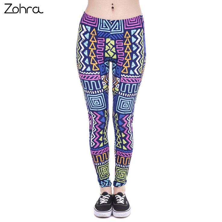 Autumn Winter New Leggings African Zig Zag Purple Printing Fitness legging Sexy Silm Trouser Women Pants 7