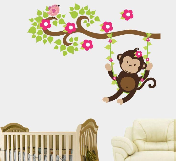 Duvar Stickerı - Sallanan Maymun #duvarsticker #dekorasyon #dekoratif #çocukodası #wallsticker #sticker #kidsroom #roomdecoration #walldecoration #duvardekorasyonu