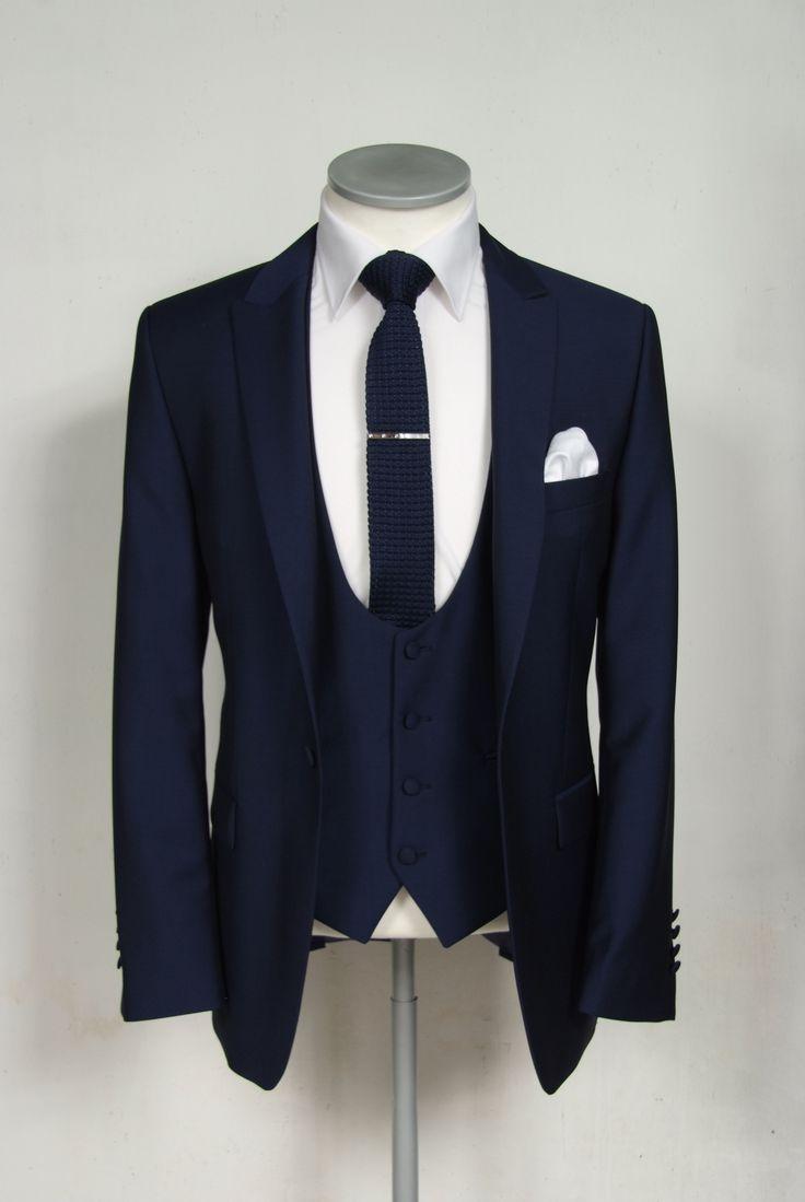 Slim fit royal blue wedding lounge suit hire.