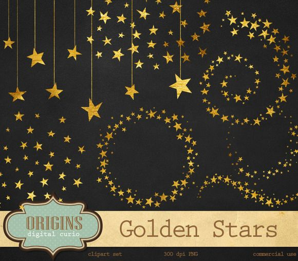 Gold Stars Clipart by Origins Digital Curio on Creative Market