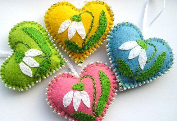 Cuori fiori ornamenti, decorazione di Pasqua, di feltro primavera regalo fiori, primavera appeso, per la madre, ama il rosa verde giallo blu