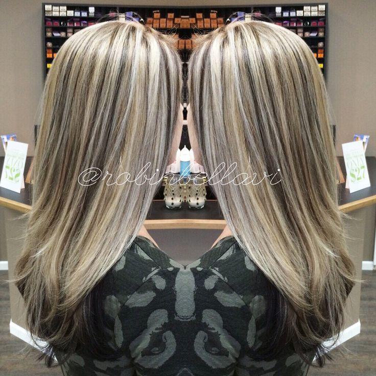 Icy ashy blonde with dark brown lowlights. #longhair #icyblonde #blondeice…