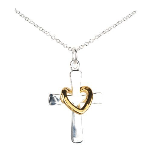 Sterling Silver Cross Necklace for Women - Fine 925 Sterling Silver Cross Necklace - 1 1/2 Inch Cross Pendant with Gold Plate Heart Hanging on Cross - Gifts for Mom for Mother's Day and Great Christmas Gift Ideas for a Girlfriend and Any Women - http://betyoudo.com/sterling-silver-cross-necklace-for-women-fine-925-sterling-silver-cross-necklace-1-12-inch-cross-pendant-with-gold-plate-heart-hanging-on-cross-gifts-for-mom-for-mothers-day-and-great-christm/ #Christmas, #Cross, #