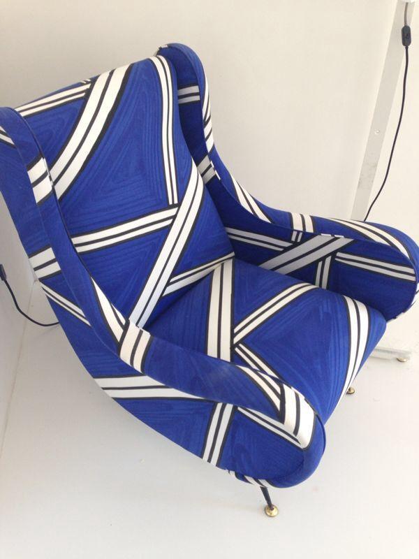 Vintage Armchair design Tria Blu