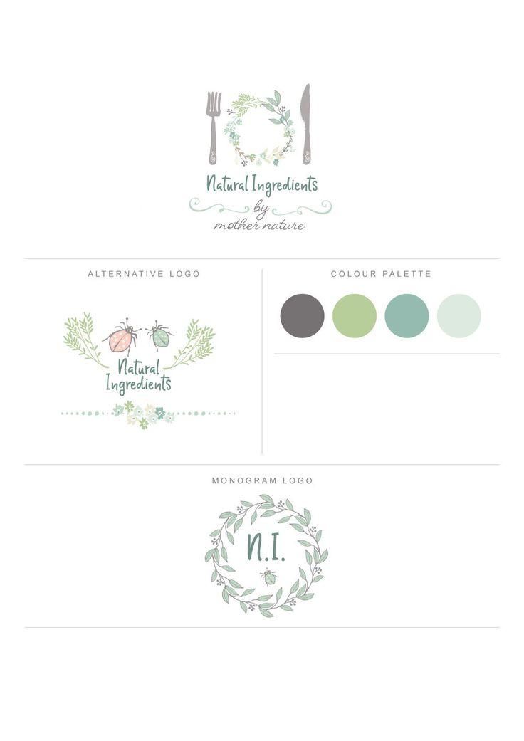 Branding Logo, Organic Kitchen Logo, Wreath Logo, Floral Logo, Monogram Logo, Calligraphy Logo, Logo Branding, Logo Design, premade logo by DejuDesign on Etsy