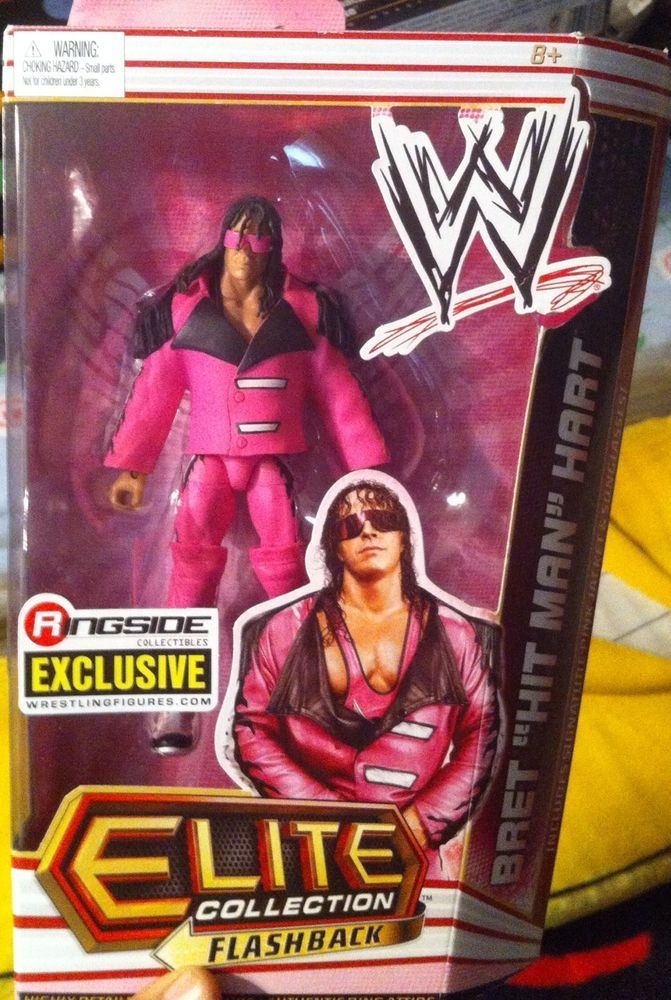 WWE Elite Bret Hart Ringside Exclusive Pink Black Rare ...