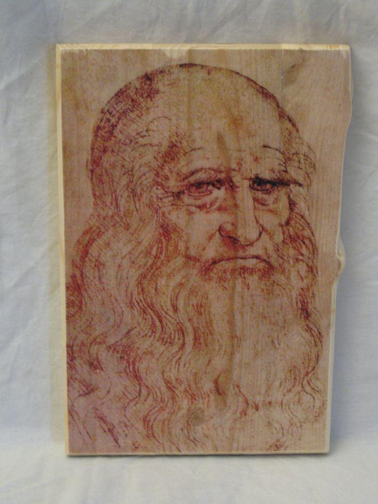 PORTRAIT of a man in RED CHALK, wood board, wood wall art, Handmade wood print. Home decor, Renaissance Art di KnockOnWoodCraft su Etsy