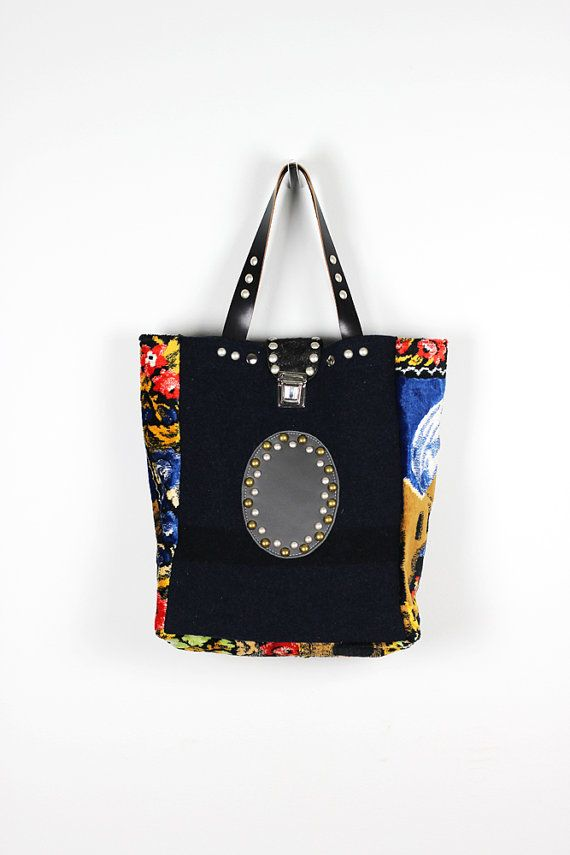 Midnight Blue Tote Bag Upcycled Vintage Military by NeroliHandbags