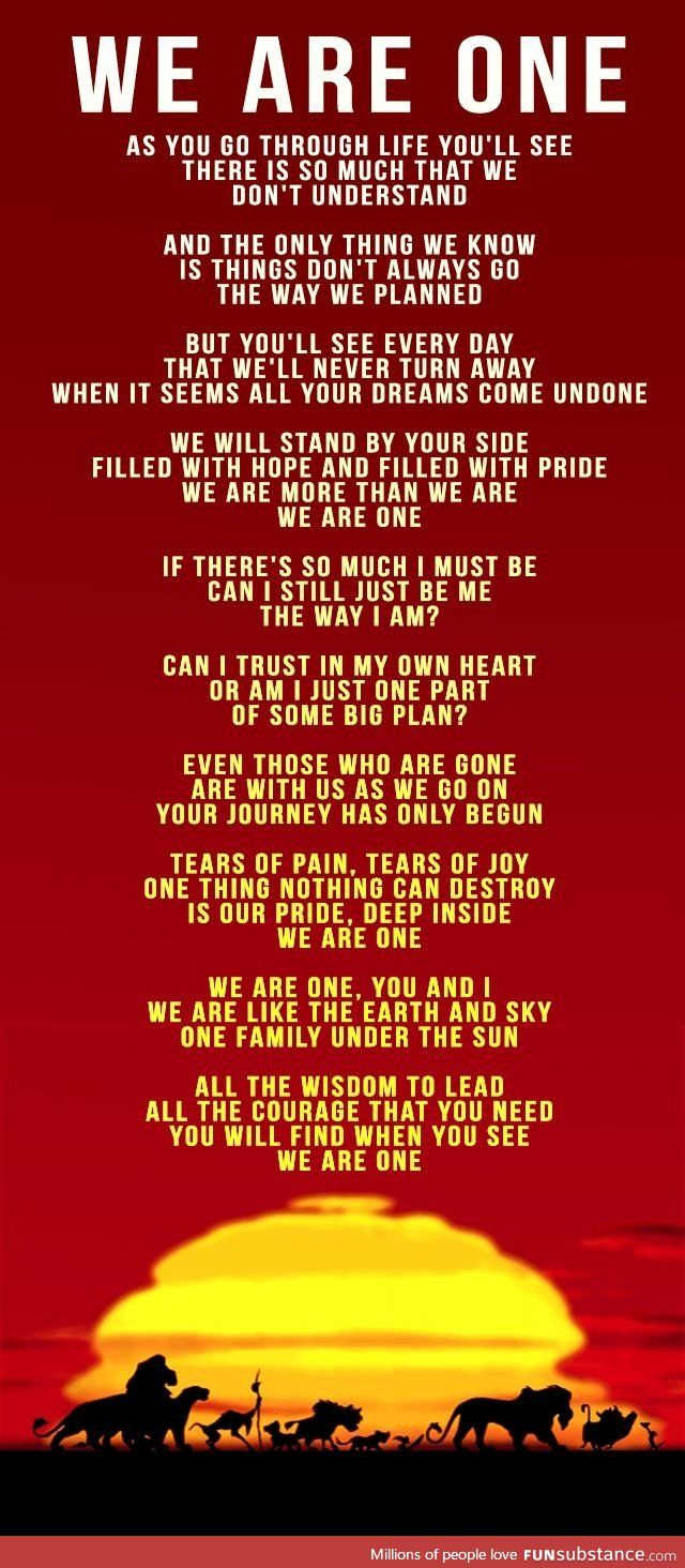 A great song lyrics from The Lion King, a life learning lesson actually.