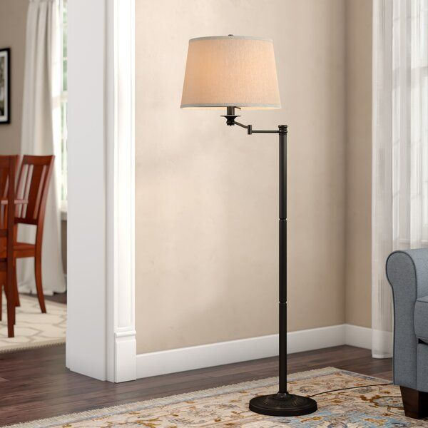 This 59 Swing Arm Floor Lamp Comes In A Copper Bronze Finish The Traditional Candlestick Base Is Brought A Floor Lamp Swing Arm Floor Lamp Arched Floor Lamp
