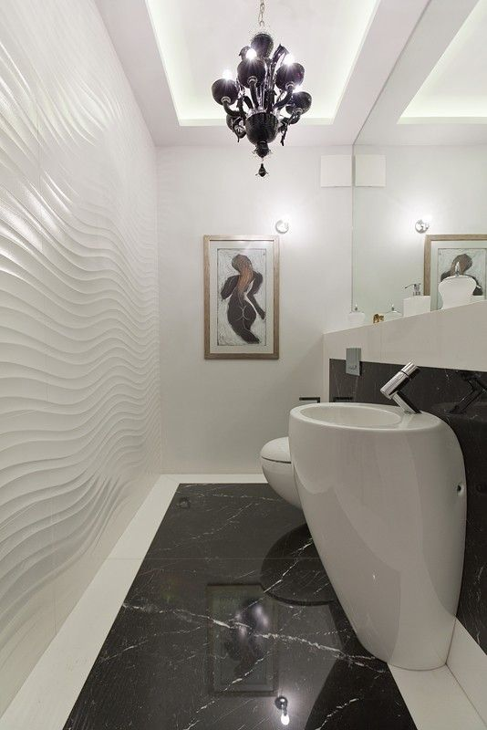 Pomysł na wąską toaletę. An idea for a narrow washroom.