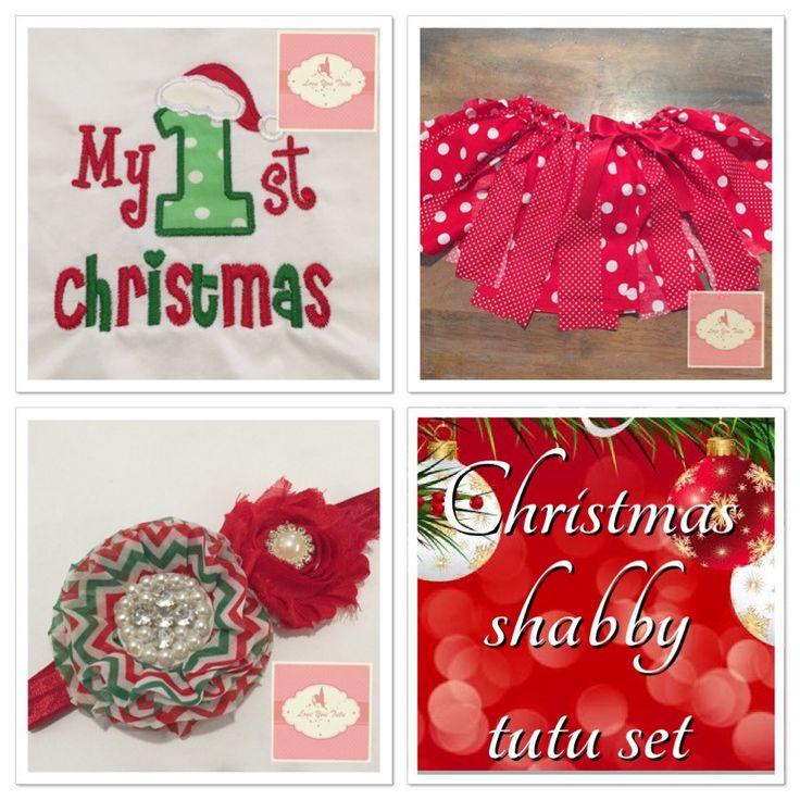 Chtistmas Embroidered Shabby tutu set