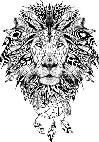 Detailed Lion in aztec style with dream catchers. Perfect for T,shirts, mugs