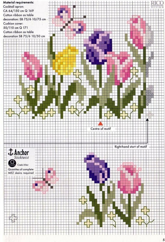 ♥Meus Gráficos De Ponto Cruz♥: Flores   (....cr....top one is about 40x55....bottom one is much smaller)