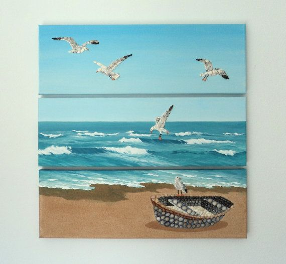 Acrylic Painting, Beach Artwork with Seashells and Sand, Boat & Seagulls Triptych in Seashell Mosaic on Sand, 3D Art Collage, Wall Decor, Home Decor #ArtworkwithSeashells #mosaiccollage #seashellmosaic #homedecor #walldecor #3D
