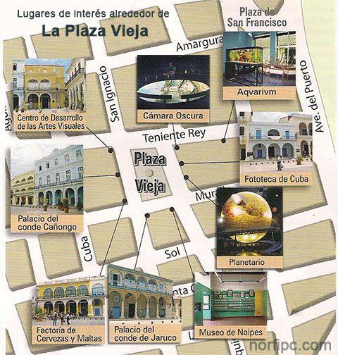 Mapa con los principales lugares de interés alrededor de la Plaza Vieja de la Habana Vieja