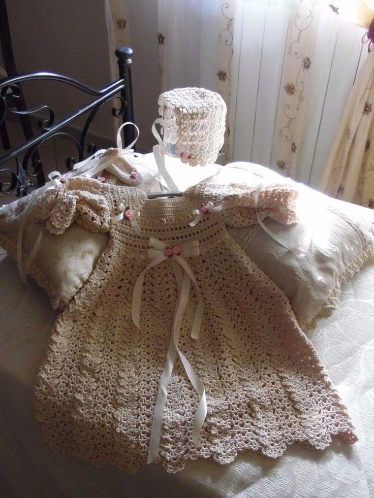 Vestitino completo per battesimo/cerimonia stile vintage neonata
