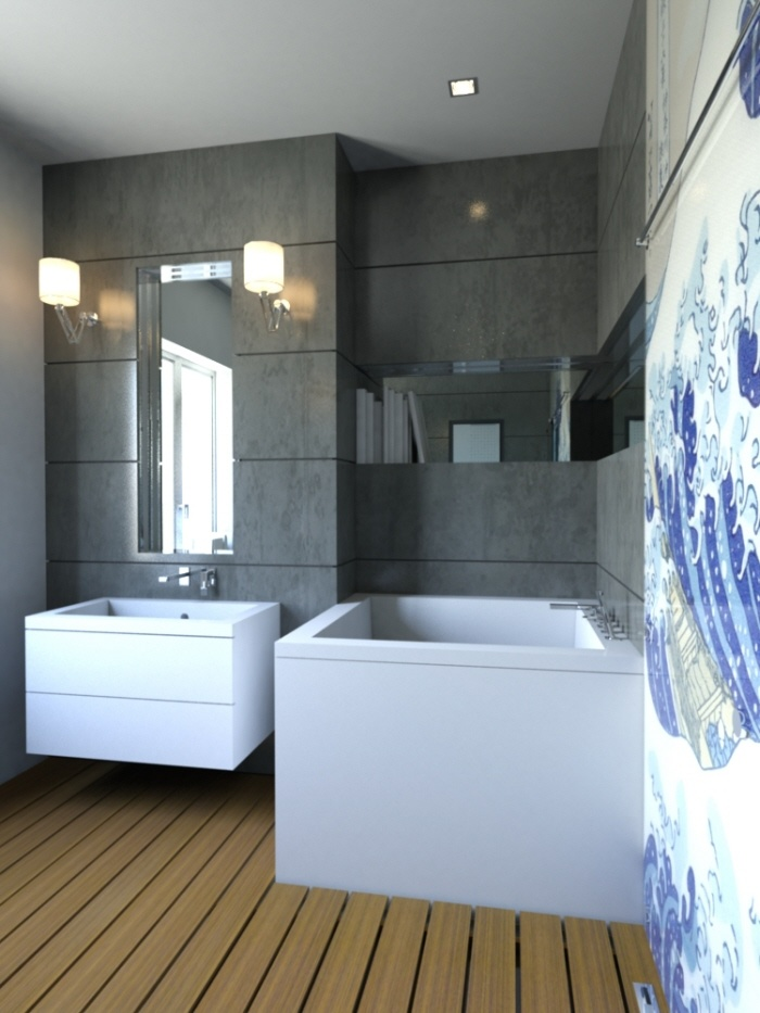 .  Conjunction of the foregoing brought into the bathroom corner  a square  Ofuro Hydrology Japanese soaker  bathtub,  then converting  the traditional bathroom floor into wet room with the provision of wooden floor and sliding door ornamented with Japanese shoji screen gave the space a distinctive, serene ambiance.
