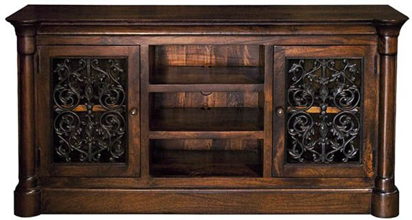Tuscan Style Media Cabinet with Iron - for smaller spaces.. Find it at Accents of Salado. We ship nationwide.